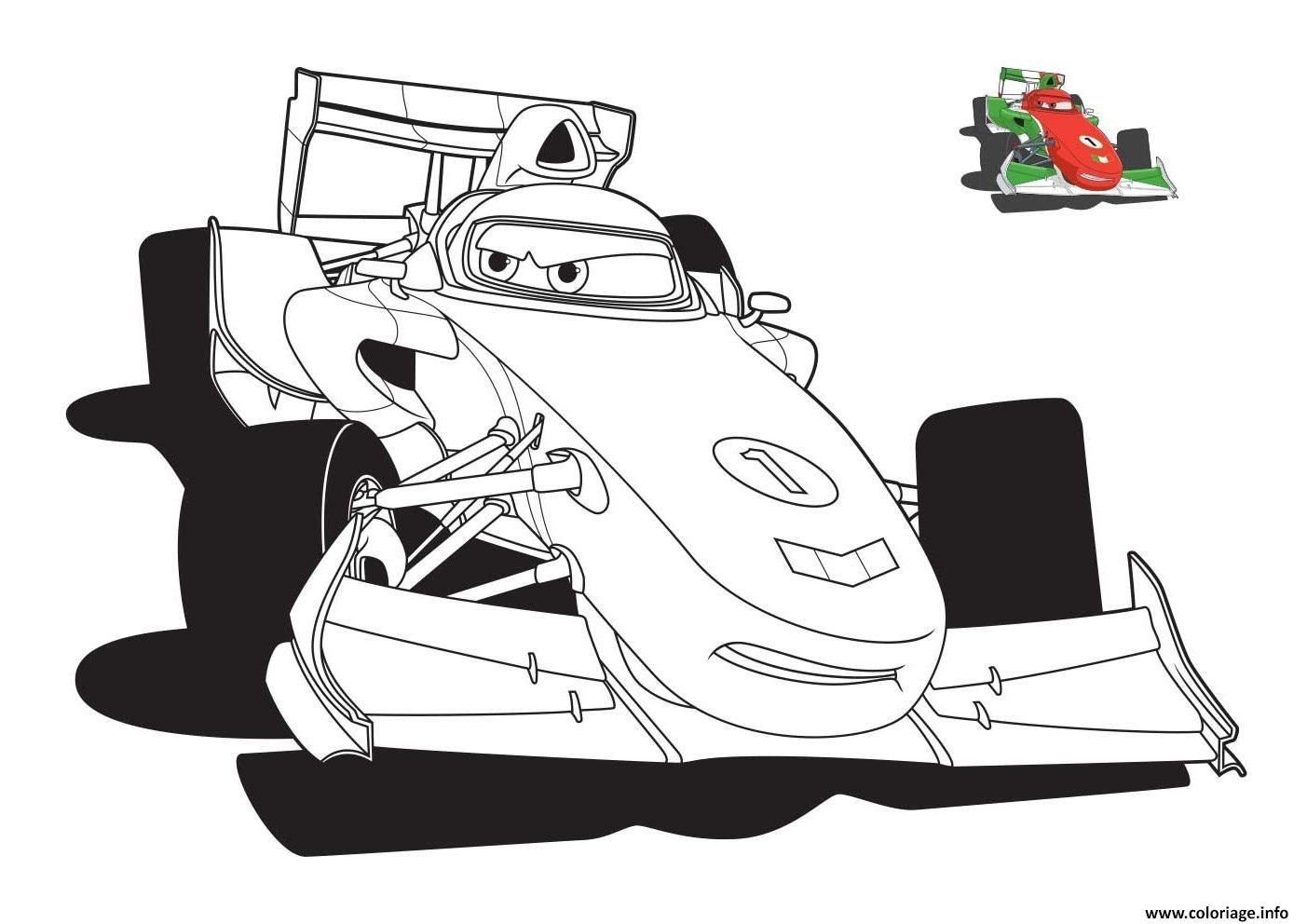 Coloriage Cars 3 Voiture De Course Verte dessin