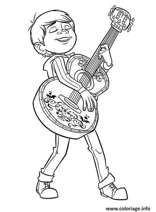 Dessin miguel en feu avec sa guitare film coco Coloriage Gratuit à Imprimer