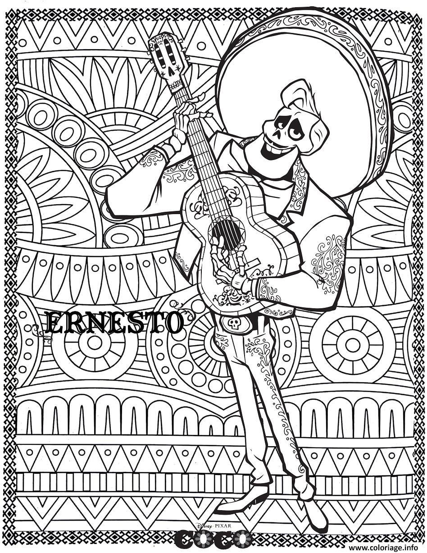 Coloriage Disney Gratuit Pdf.Coloriage Disney Coco Ernesto Fond Mandala Adulte Dessin