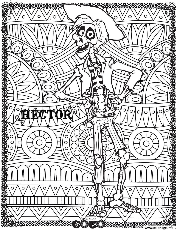 Dessin hector fond mandala disney coco Coloriage Gratuit à Imprimer