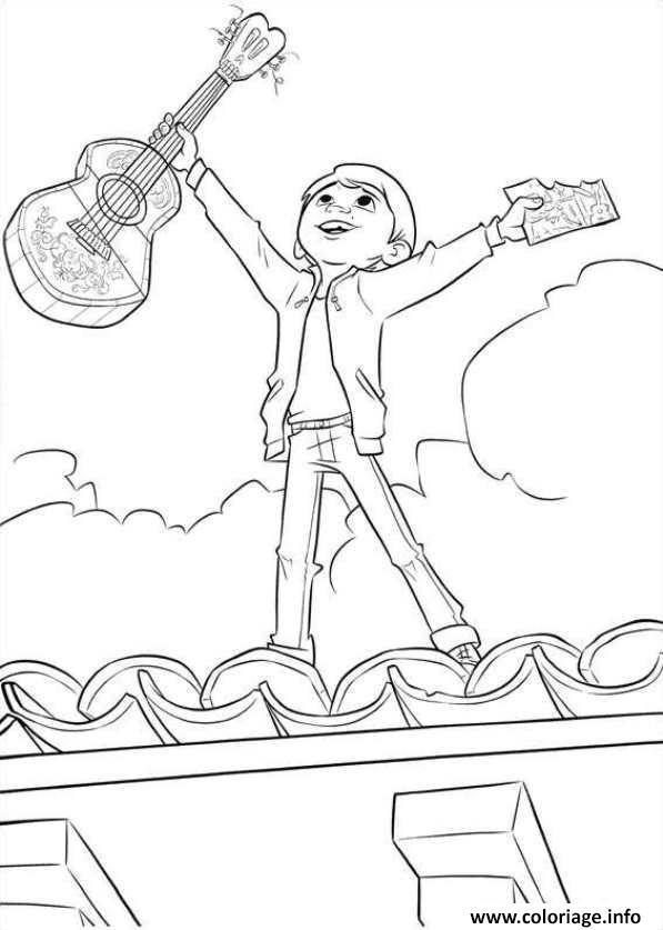 Coloriage miguel sur le toit de la maison avec sa guitare for Toit de maison dessin