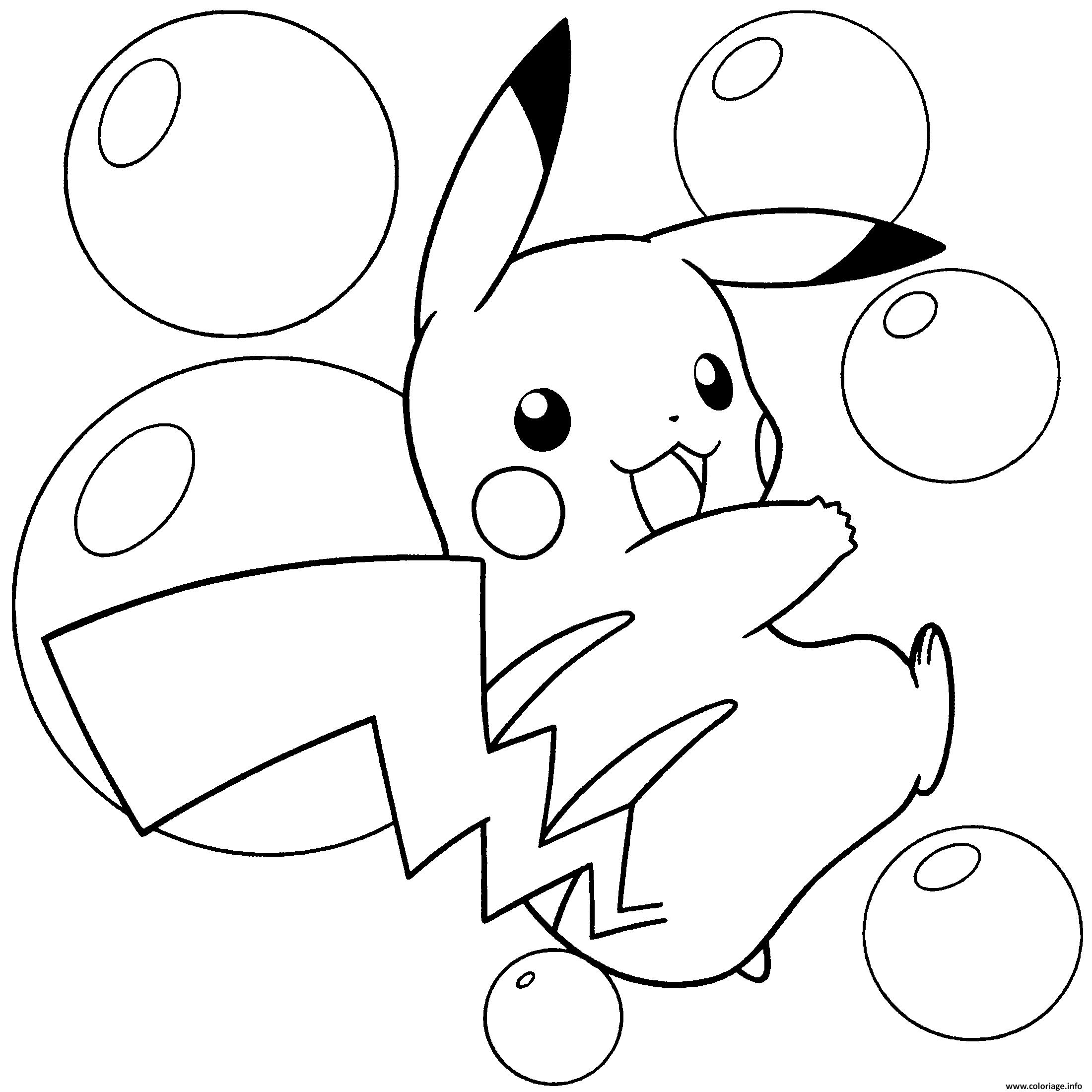 Dessin pokemon pikachu fait le saut avec des ballons Coloriage Gratuit à Imprimer