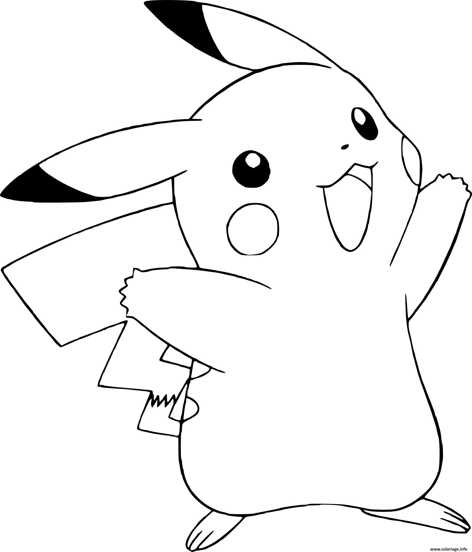 Dessin pokemon pikachu fait salut Coloriage Gratuit à Imprimer
