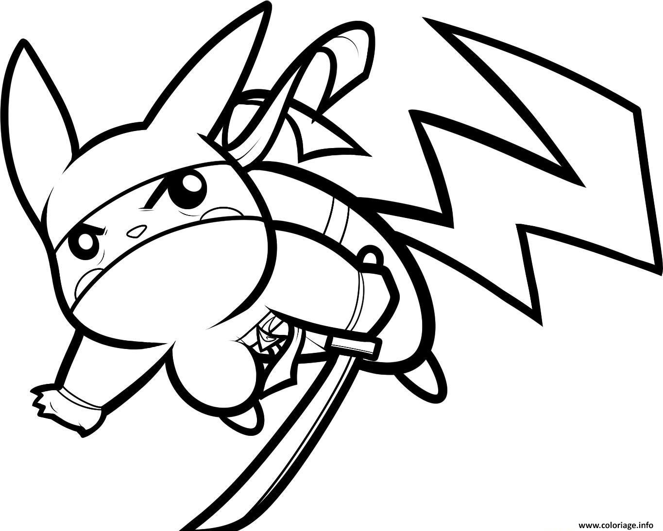 Coloriage pikachu en mode ninja pokemon - Dessin anime ninja ...