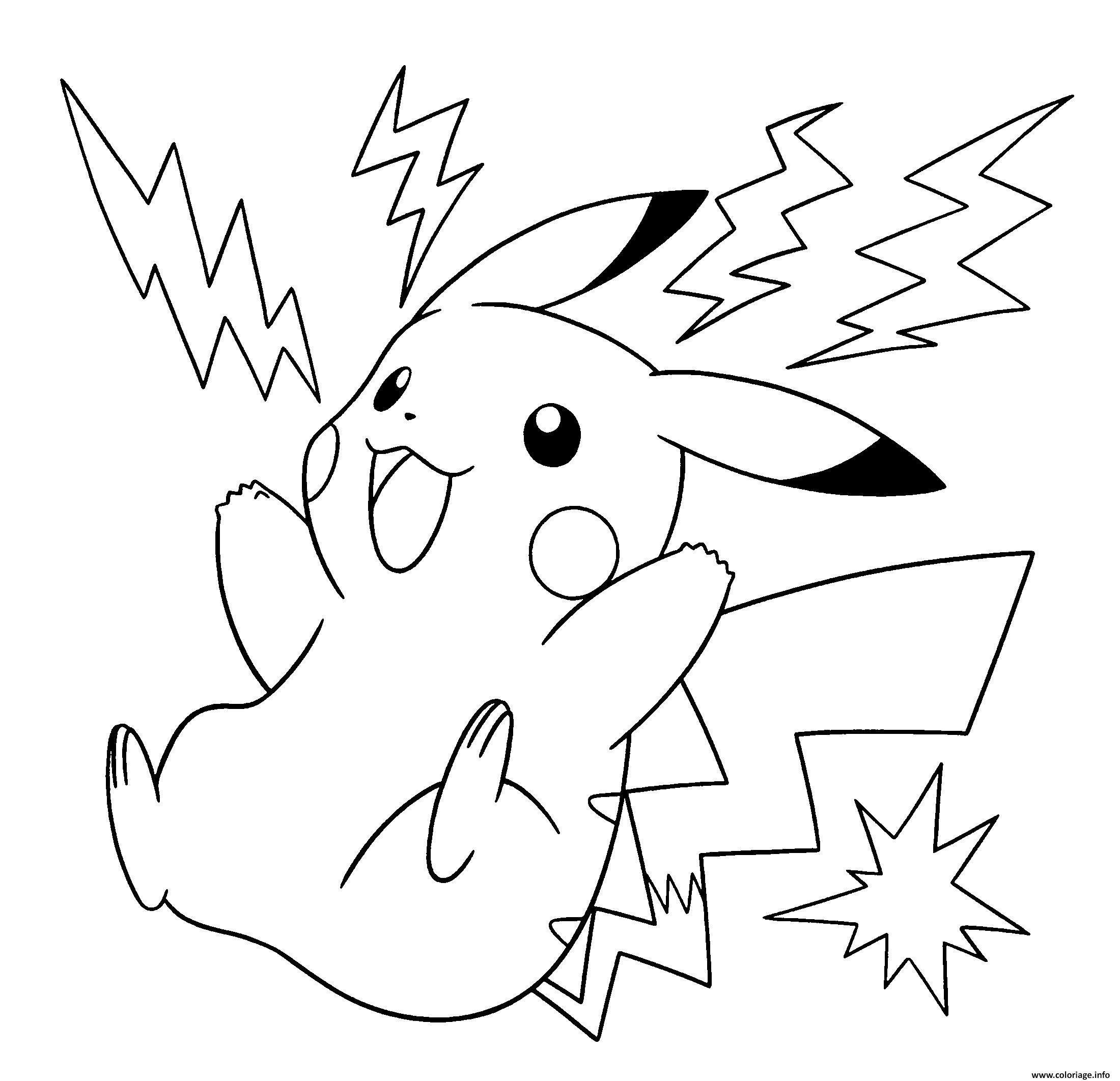 Dessin pokemon pikachu electrique Coloriage Gratuit à Imprimer