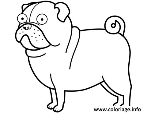 Dessin funny pug chien Coloriage Gratuit à Imprimer