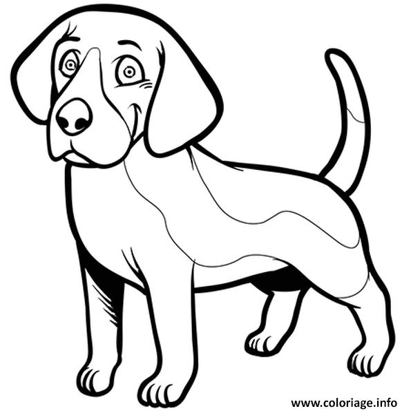 Dessin chien beagle souriant Coloriage Gratuit à Imprimer