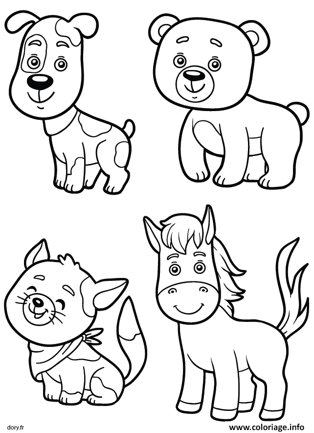 Coloriage Chien Ours Cheval Chat Animaux Dessin