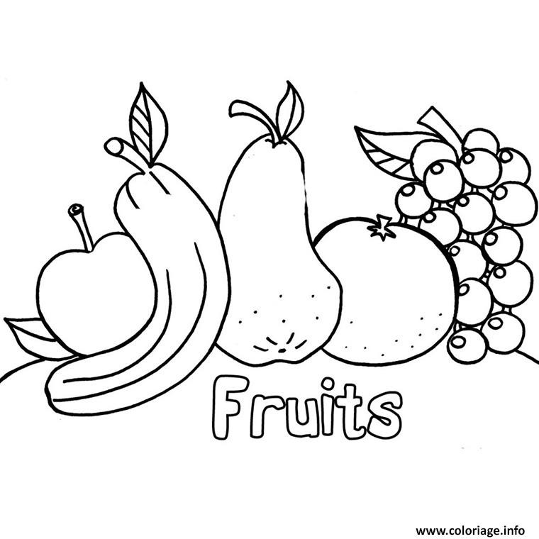 Coloriage Les Fruits.Coloriage Fruits Alimentation Equilibree Jecolorie Com