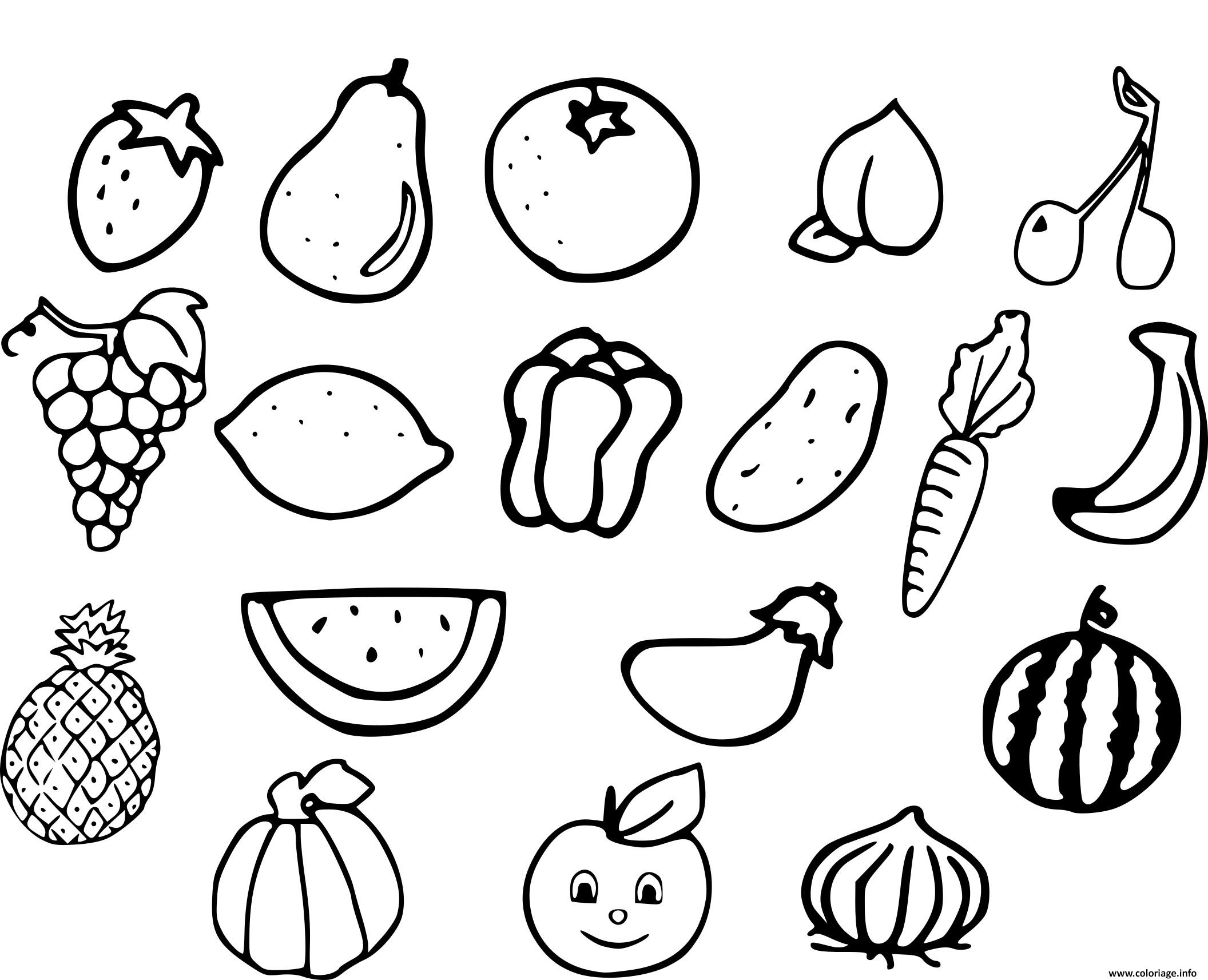 Coloriage Les Fruits.Coloriage Fruits Et Legumes Jecolorie Com