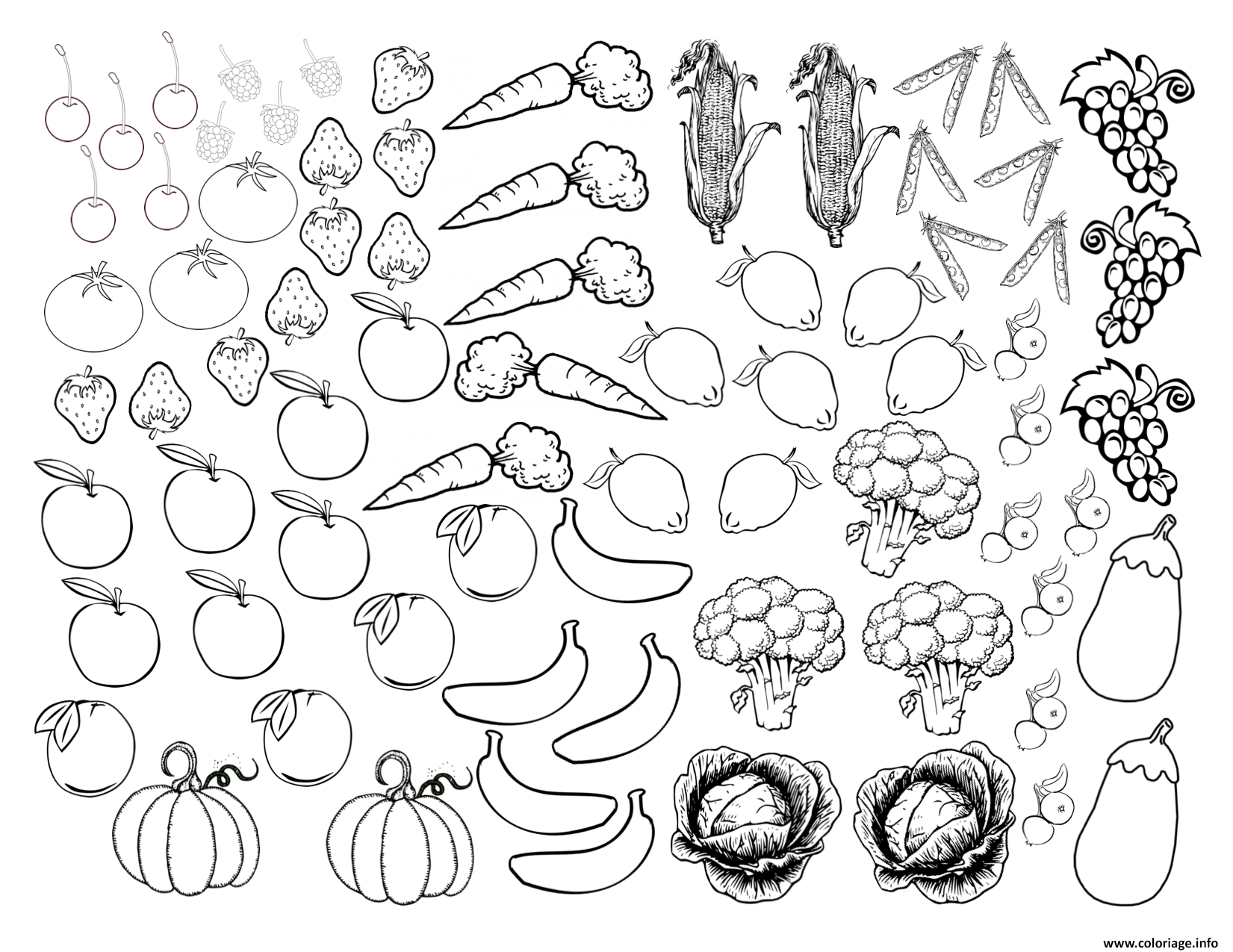 Coloriage Les Fruits.Coloriage Fruits Et Legumes 2 Jecolorie Com