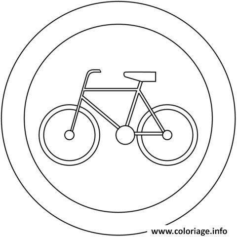 Dessin panneau bicyclette velo securite routiere Coloriage Gratuit à Imprimer