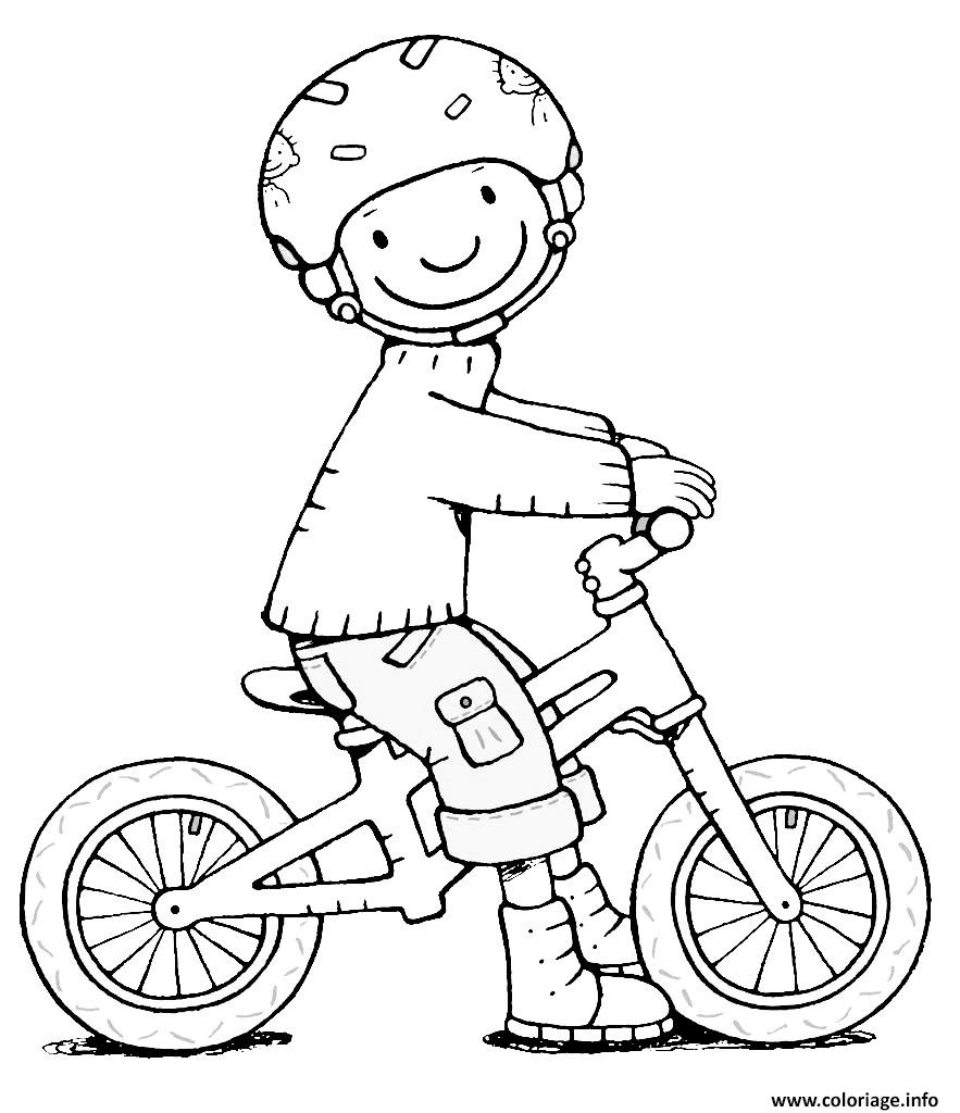 Coloriage Securite Routiere Velo Bicyclette Porter Son Casque De Protection Dessin à Imprimer