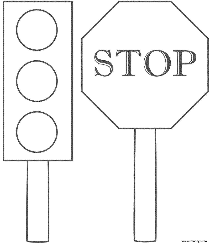 Dessin securite routiere panneau stop Coloriage Gratuit à Imprimer