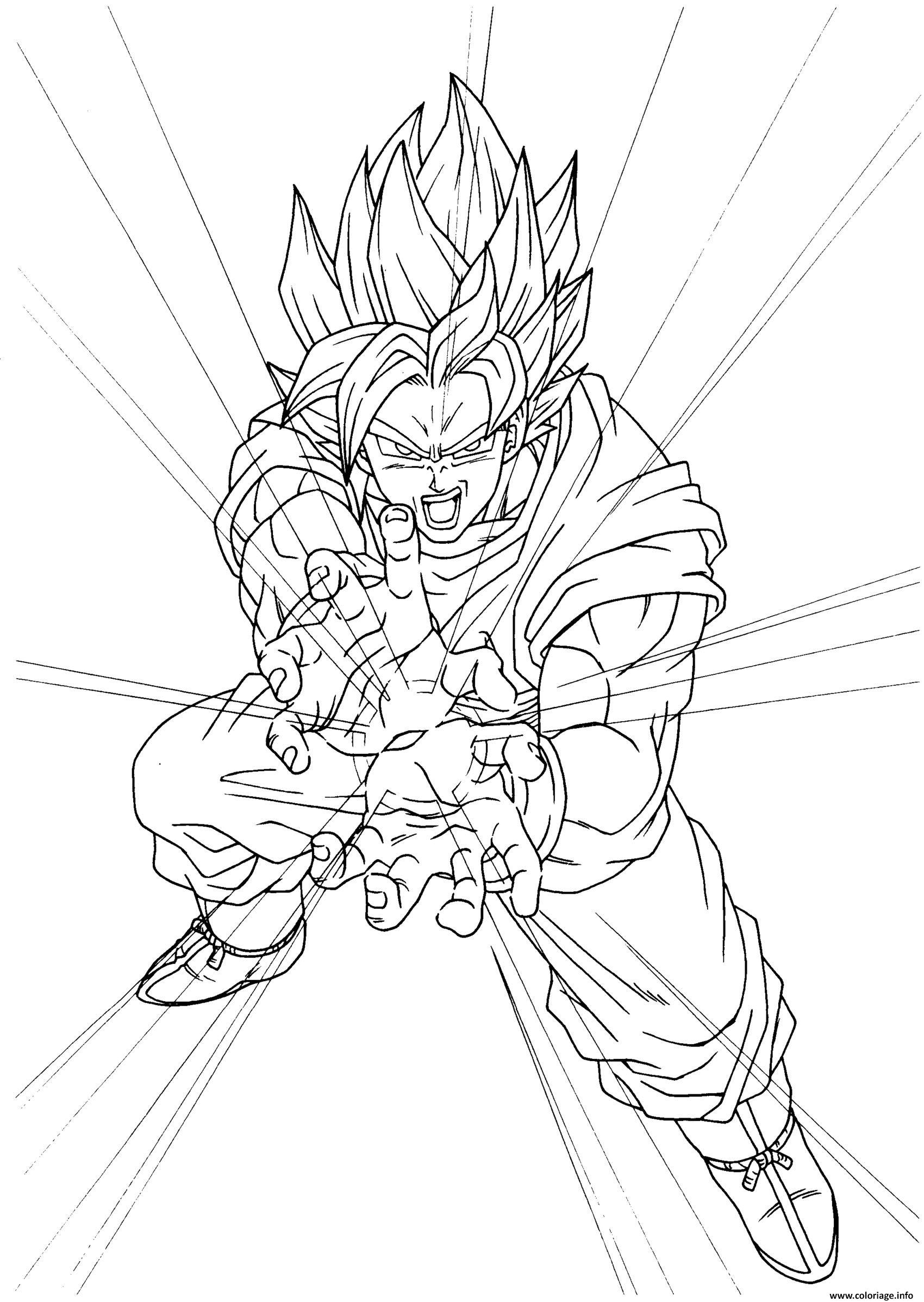 Coloriage Super Goku Super Sayen Dbz Dessin Dragon Ball Z A Imprimer