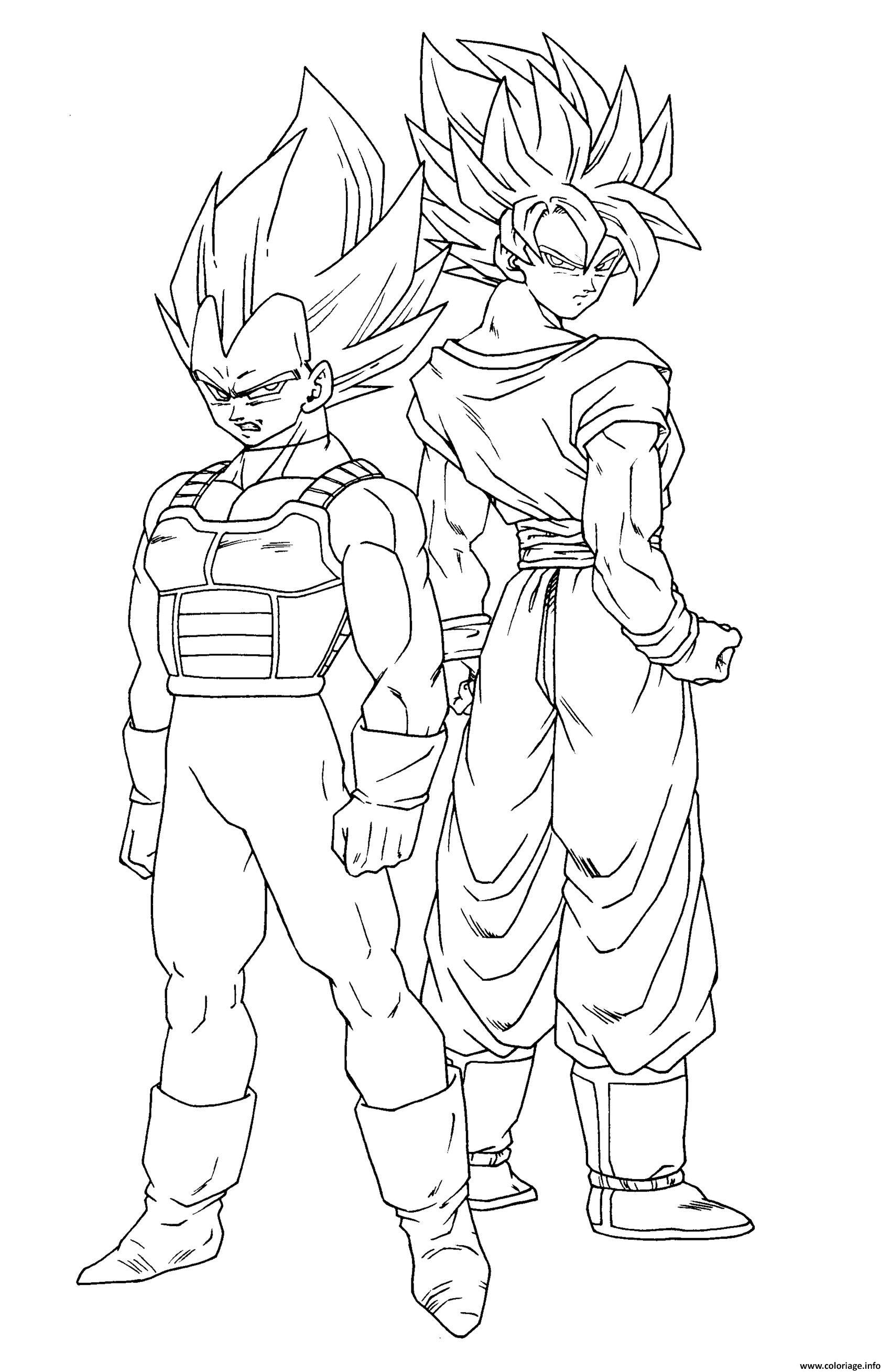 Coloriage goku et son frere vegeta dragon ball z akira - Dessin de vegeta ...