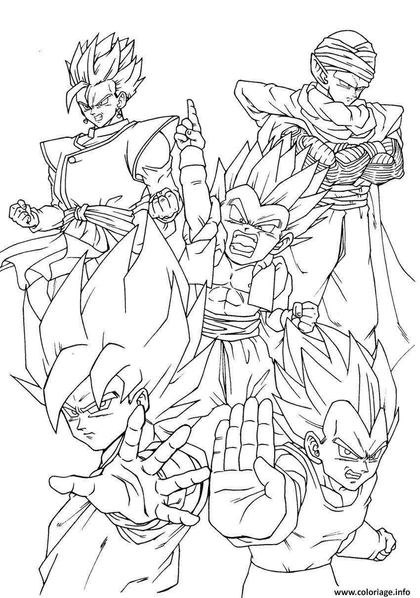 Coloriage Goku Vegeta Piccolo Gohan Yamcha Dragon Ball Dessin
