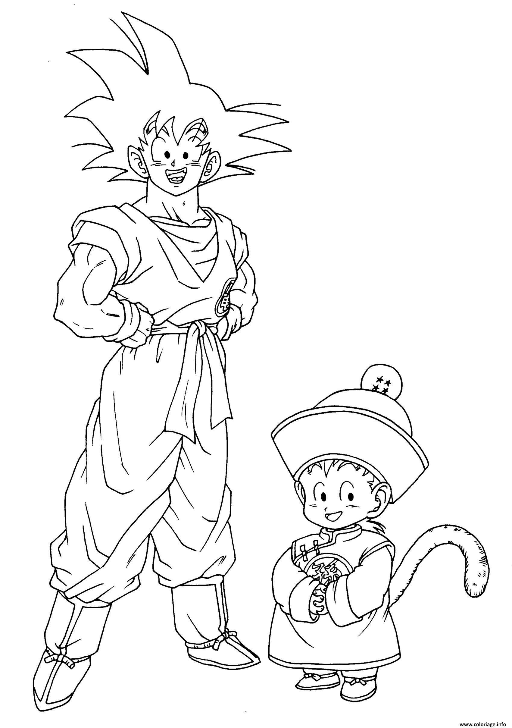 Coloriage Dragon Ball Z Goku Et Goten Dessin