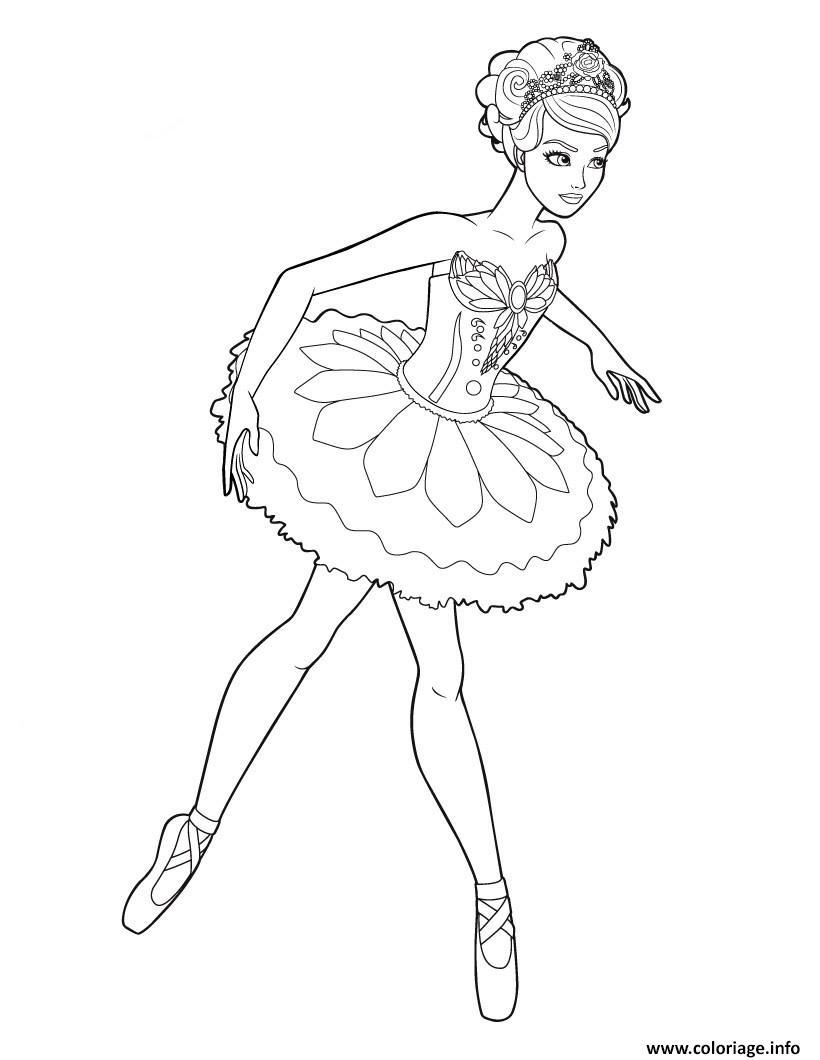 Dessin barbie qui fait de la ballerine Coloriage Gratuit à Imprimer