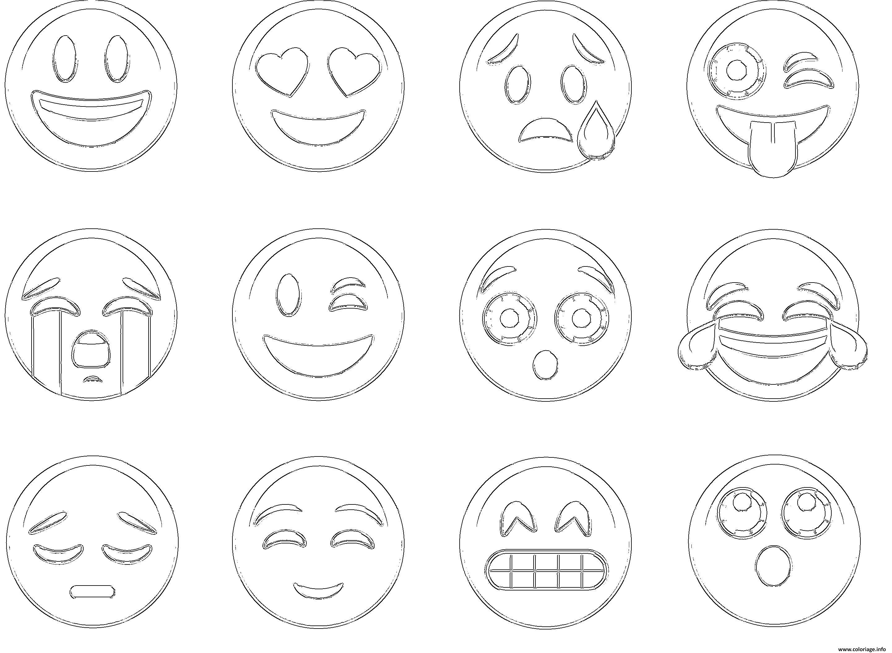 Coloriage emoji ios new list - Smiley en noir et blanc ...