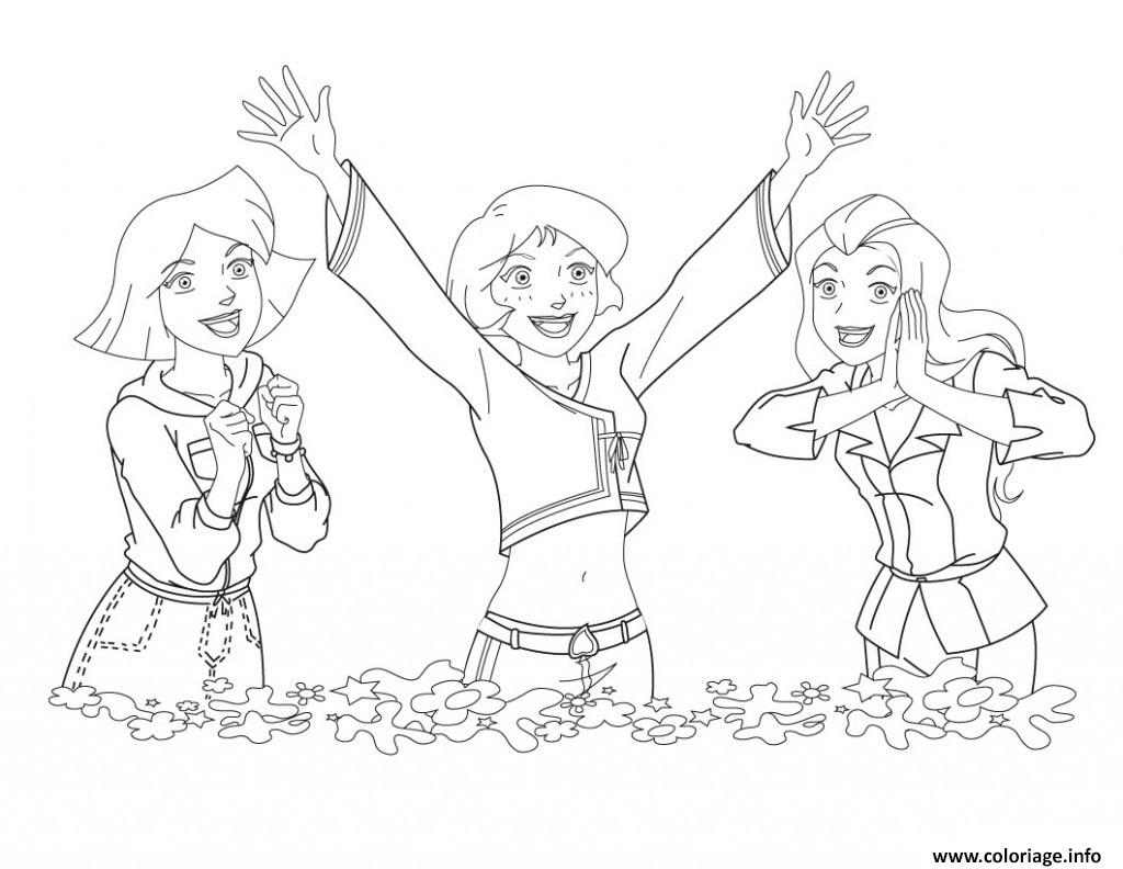 Coloriage Clover Alex Et Sam Super Heureuses Dessin Totally Spies A Imprimer