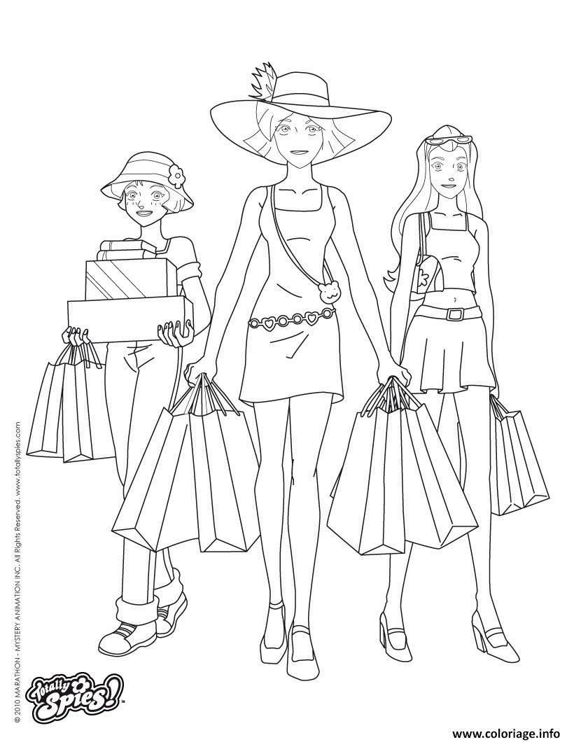 Coloriage Totally Spies.Coloriage Totally Spies Shopping Jecolorie Com
