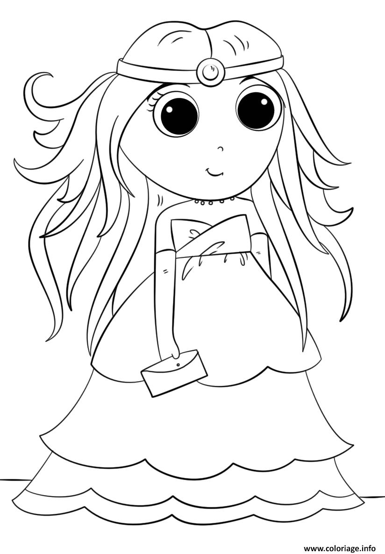 Dessin anime princess kawaii Coloriage Gratuit à Imprimer