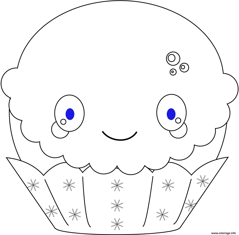 Coloriage kawaii christmas cupcake - JeColorie.com