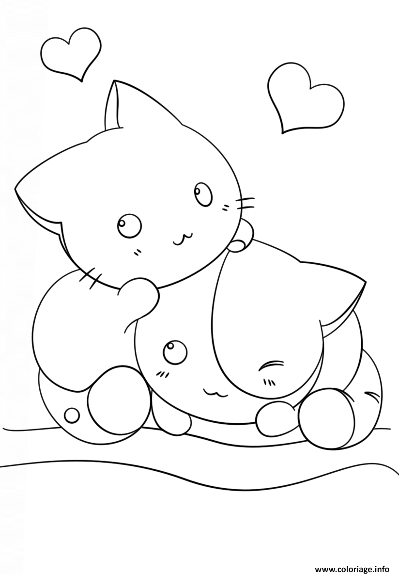 Coloriage Kawaii Kittens Dessin