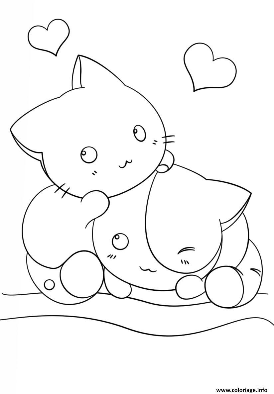 Coloriage kawaii kittens - JeColorie.com