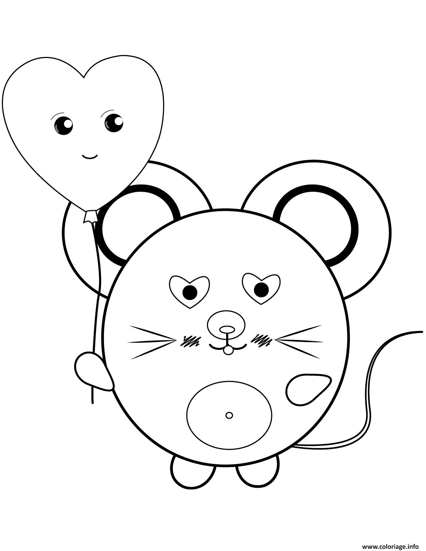 Dessin kawaii mouse Coloriage Gratuit à Imprimer