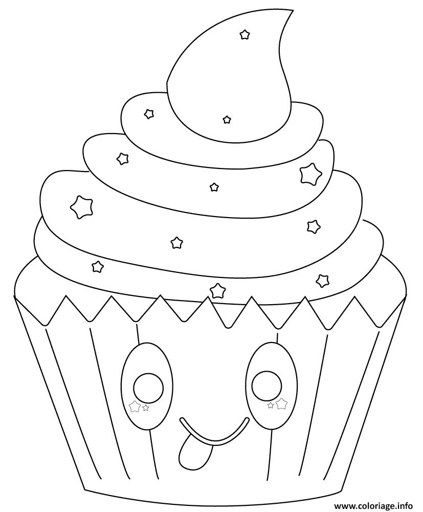 Dessin kawaii cupcake with stars Coloriage Gratuit à Imprimer