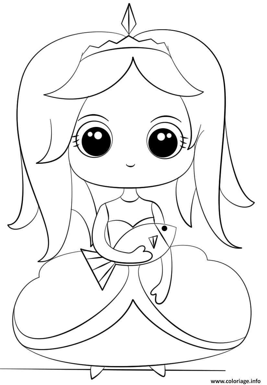 Coloriage Princess With Fish Kawaii dessin
