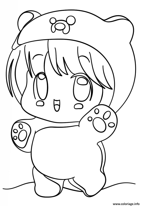 Coloriage Kawaii Chibi Girl dessin
