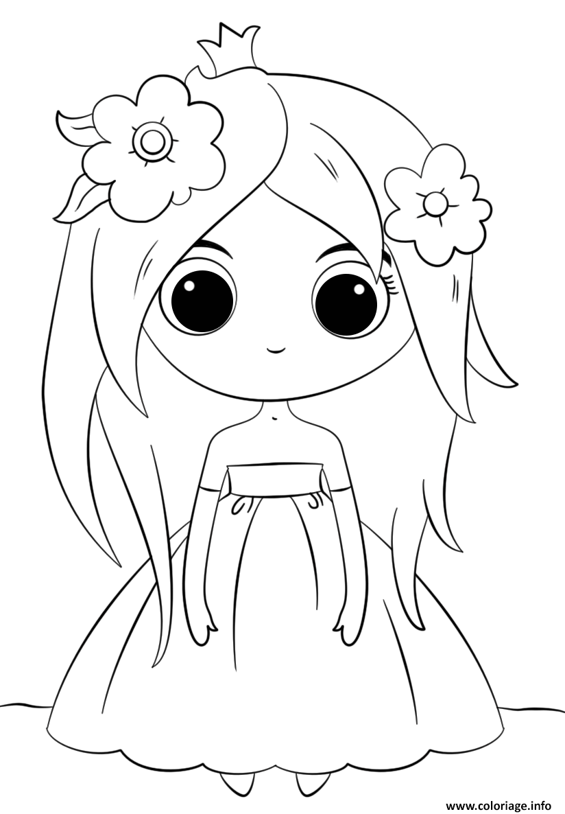 Coloriage cute princess kawaii dessin - Grand dessin a colorier ...