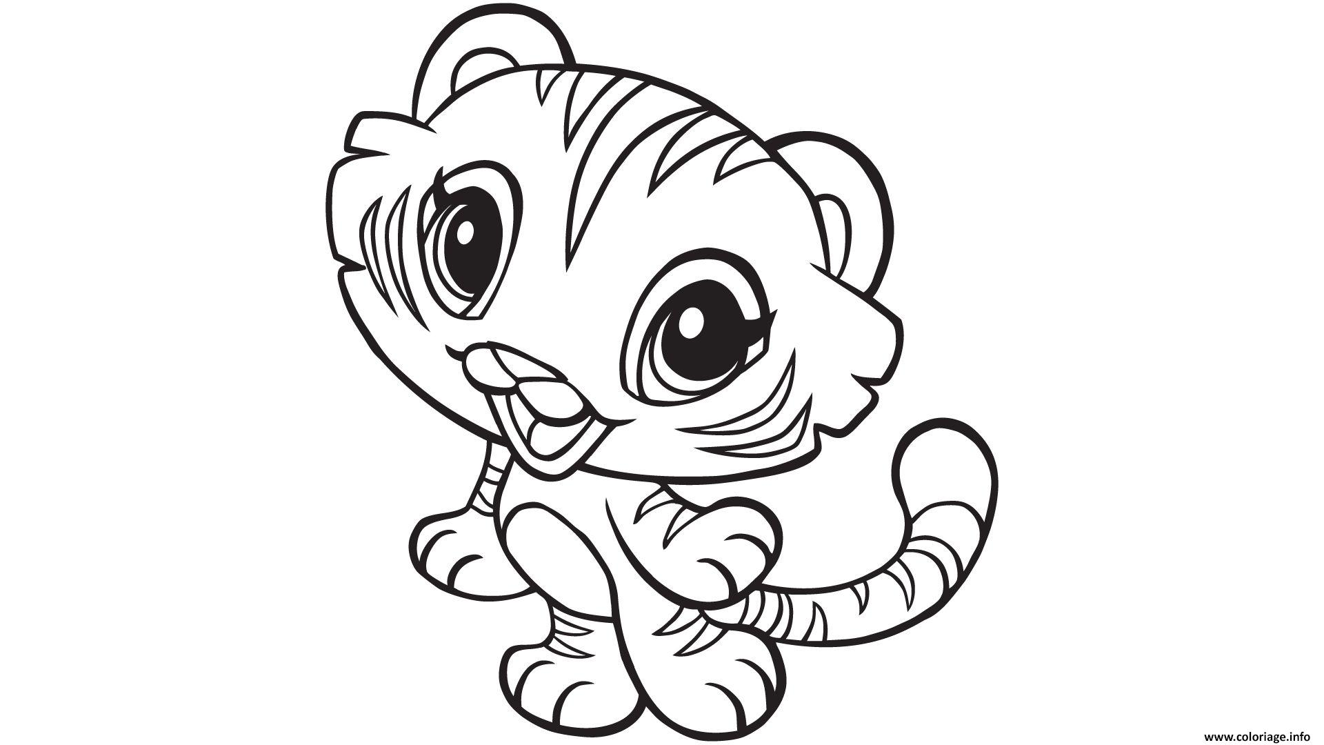 Coloriage Kawaii Animaux Tigre Dessin