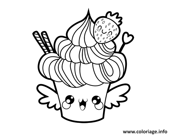 Coloriage cupcake kawaii au fraise food dessin - Dessin cupcake ...