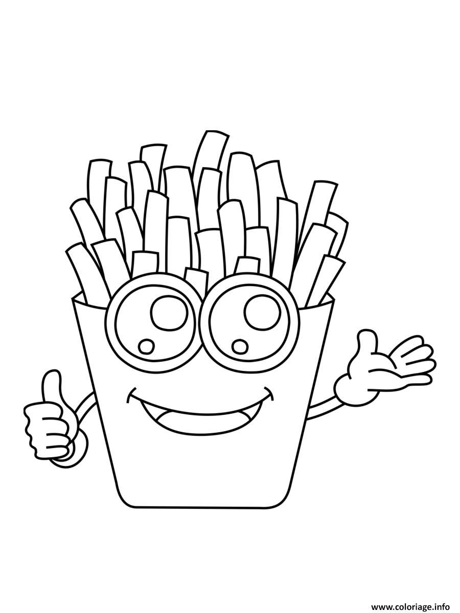 Dessin frites kawaii nourriture Coloriage Gratuit à Imprimer