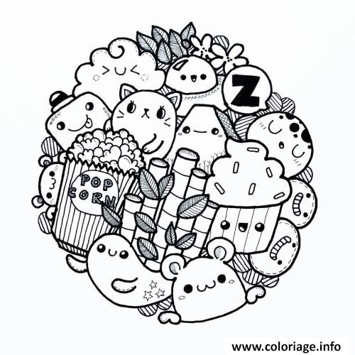 Coloriage Kawaii Food Animal Cute Dessin