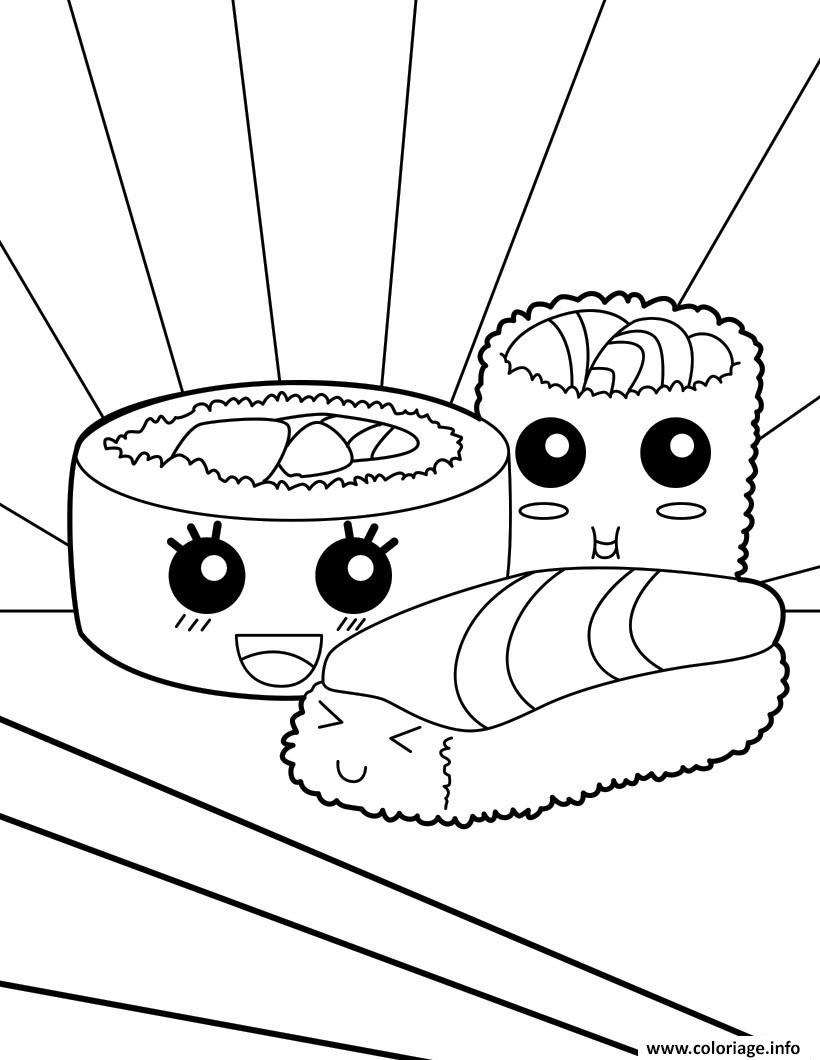Coloriage kawaii food sushi for Cute marshmallow coloring pages