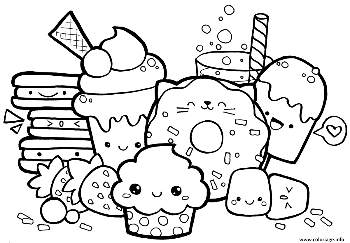 Coloriage kawaii food - Image kawaii a imprimer ...