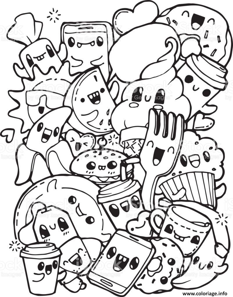 Coloriage Kawaii Pretty Food And Cute Dessin