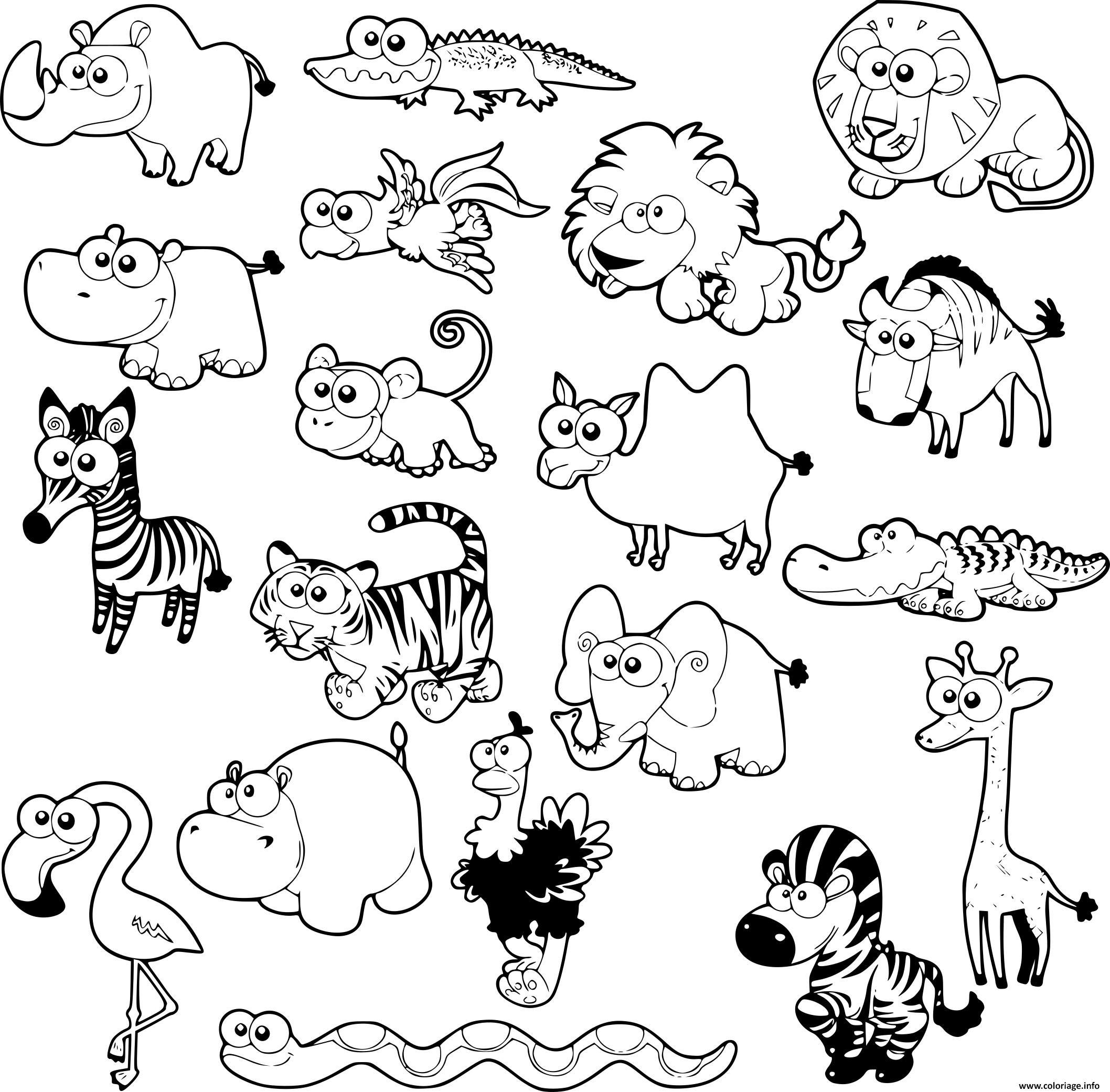 Coloriage Kawaii Animaux De La Savane Dessin