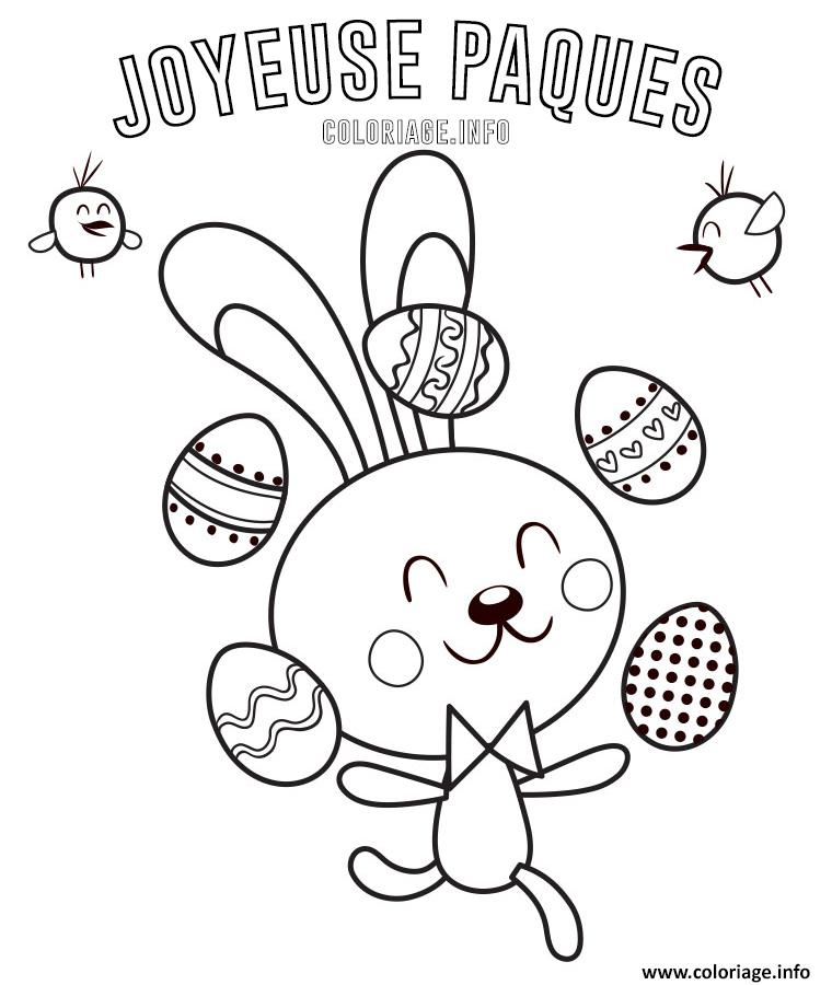 coloriage joyeuse paques lapin de paques jongleur oeufs dessin. Black Bedroom Furniture Sets. Home Design Ideas