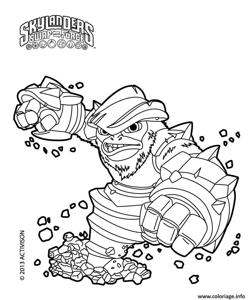 Coloriage skylanders Swap Force Grilla Drilla - JeColorie.com