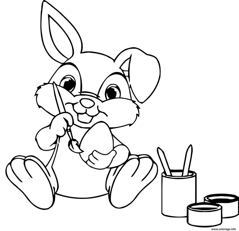 Dessin lapin peinture des oeufs Coloriage Gratuit à Imprimer