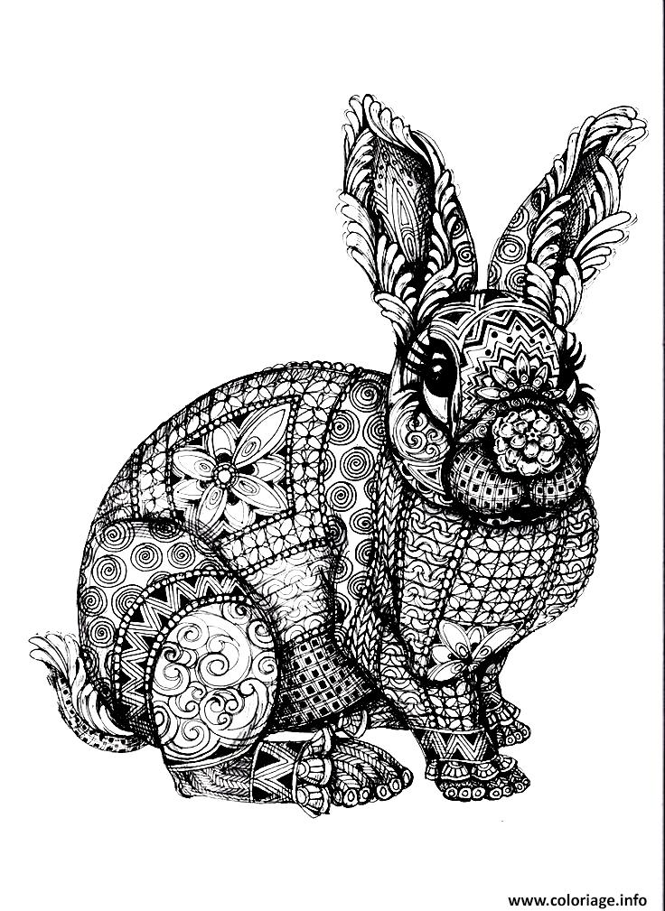 Dessin lapin adulte zentangle antistress Coloriage Gratuit à Imprimer