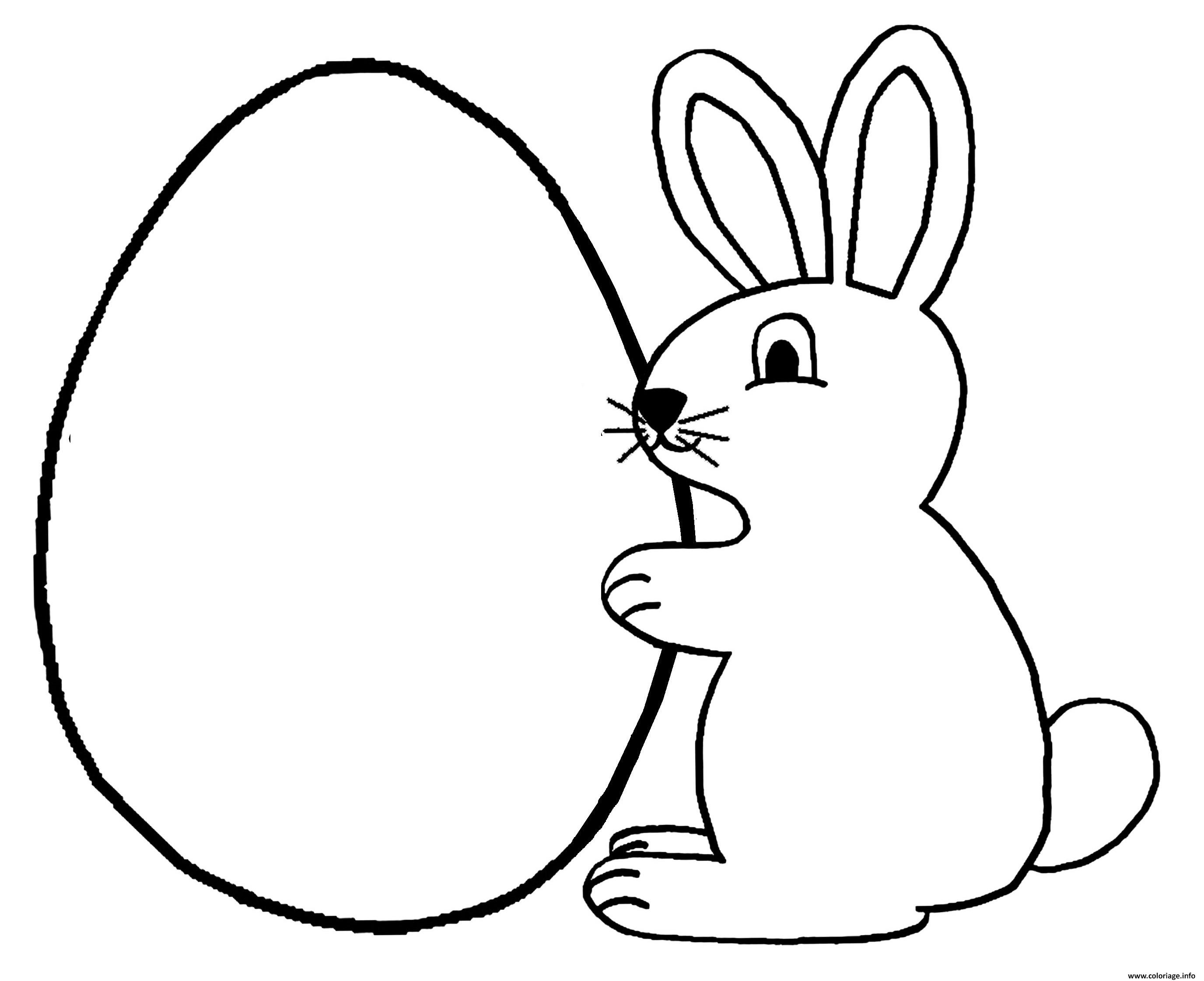 Coloriage Lapin Oeuf Paques Jecolorie Com