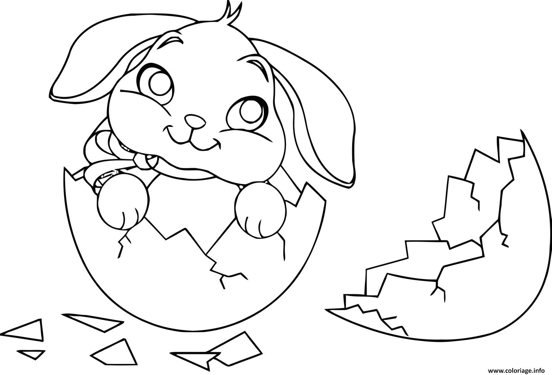Dessin cute lapin oeuf Coloriage Gratuit à Imprimer