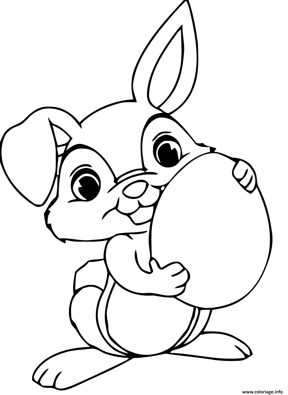 Coloriage dessin de lapin maternelle - JeColorie.com